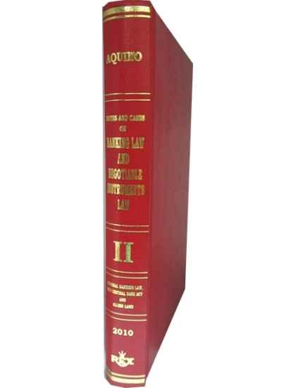 Notes and Cases on Banking Law and Negotiable Instruments Law Vol. II