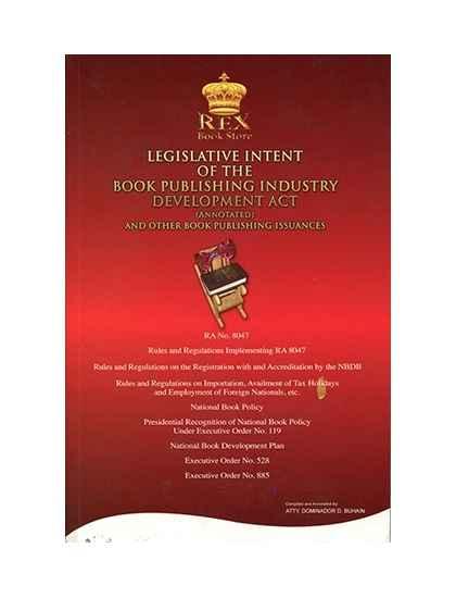 Legislative Intent of The Book Publishing Industry Development Act