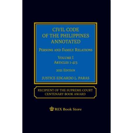 Civil Code of the Phillipines Annotated Volume I (2021 Edition) Cloth Bound
