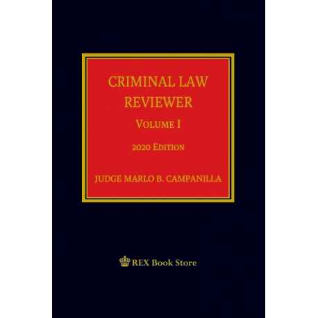 CRIMINAL LAW REVIEWER VOLUME I (CLOTH BOUND)